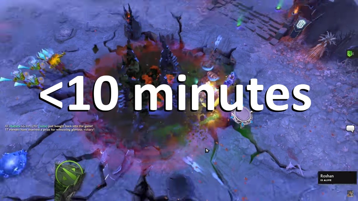 Winning a game of Dota in under 10 minutes