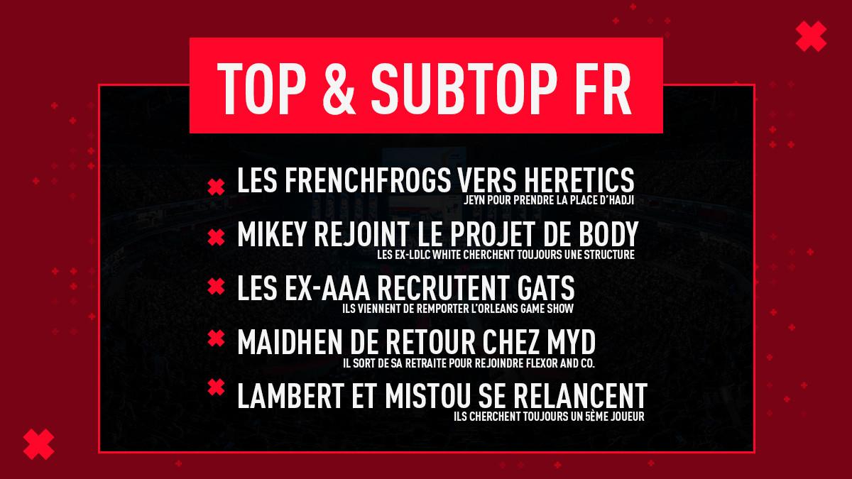 Tour d'horizon du top et subtop français