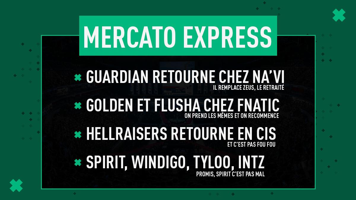 Mercato Express #16 : Na'Vi, fnatic, HR, Spirit, Windigo, TyLoo, INTZ