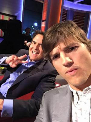Ashton Kutcher with Mark CubanFacebook)