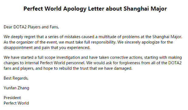 Perfect World issue bizarre apology over a month after the Shanghai